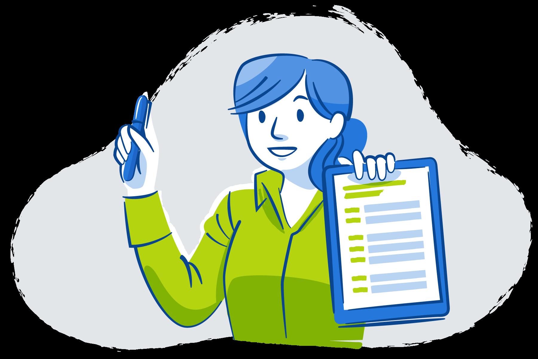 Illustration of woman holding CV checklist